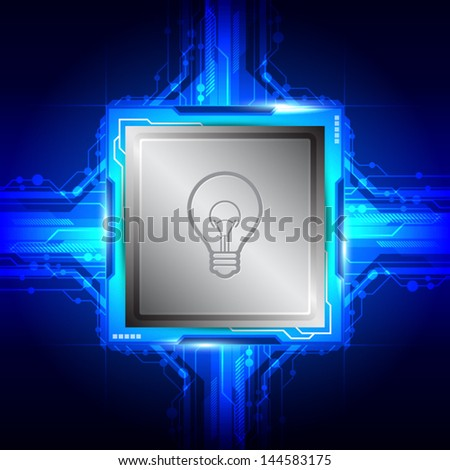 vector bulb symbol on computer processor, electric technology
