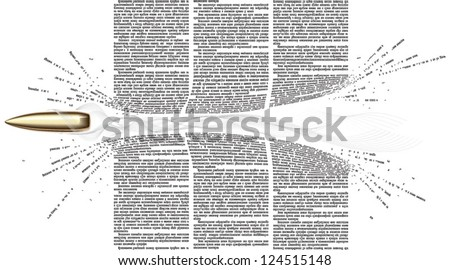 Vector bullet flies through of newspaper columns. All text in newspaper page unreadable