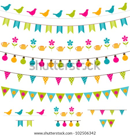 Vector bunting and garland set. Used pattern brushes included