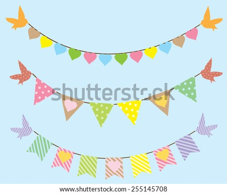 vector bunting with birds and