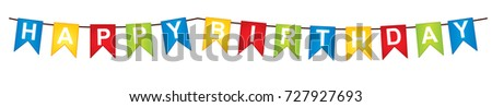 Vector bunting with words - Happy Birthday. Vector Happy Birthday flags. Happy Birthday vector illustration