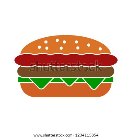 vector burger sandwich isolated icon - fast food illustration sign . cheeseburger sign symbol