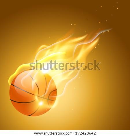 vector burning basketball