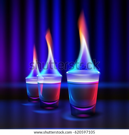 vector burning cocktail shots