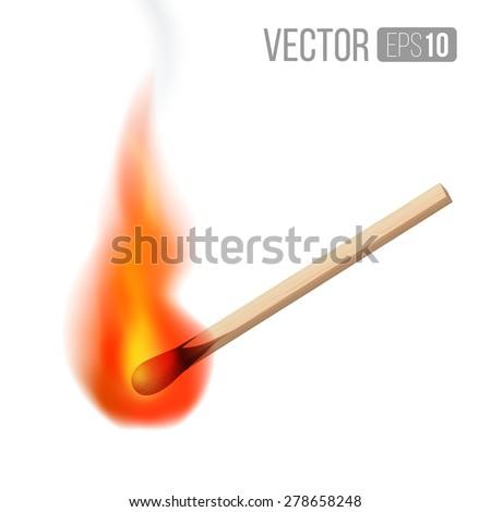 Vector burning  match sticks on  white background. Vector illustration