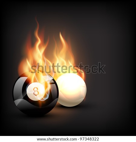 vector burning pool ball in dark background