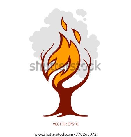 vector burning tree creative