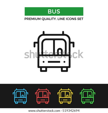 Vector bus icon. Transportation, public transport. Premium quality graphic design. Modern signs, outline symbols collection, simple thin line icons set for website, web design, mobile app, infographic