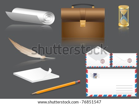 Vector business a set a portfolio, an envelope, a paper, a pencil, a feather, a notebook, hours