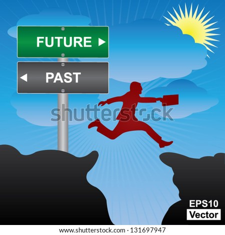 Vector : Business and Finance Concept Present By Jumping Through The Valley Gap With Green and Gray Street Sign Pointing to Future and Past in Blue Sky Background