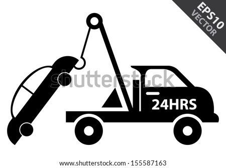 Vector : Business and Service Concept Present By Black Glossy Style 24HRS Tow Car Sign Isolated on White Background