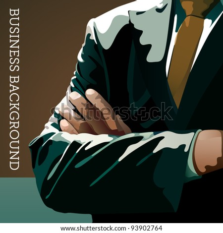 Vector business background - man in a suit with crossed hands