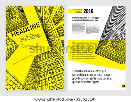 yellow and black business brochure poster - Download Free Vector Art