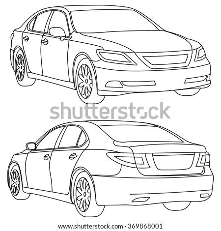 vector business car lne draw