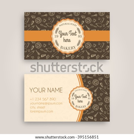 Vector Business card Design Template with doodle bakery hand drawn pattern and Vintage bakery emblem
