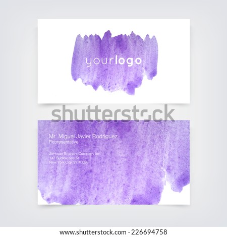 Vector business card design template with hand purple painted watercolor background
