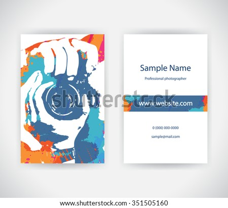 Photographer business card download free vector art stock vector business card for photographer on background with paint splashes set template reheart Choice Image