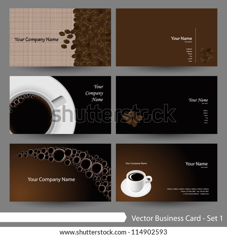 Vector business card template set: Coffee theme business card template (Part 6)