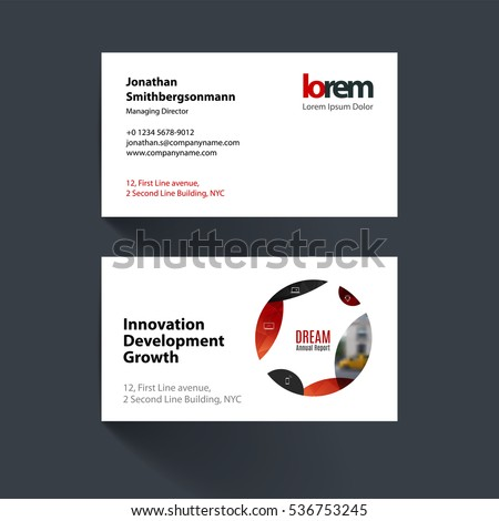 Vector business card template with red circle, soft shapes, round for IT, business, beauty. Simple and clean design. Creative corporate identity layout set.