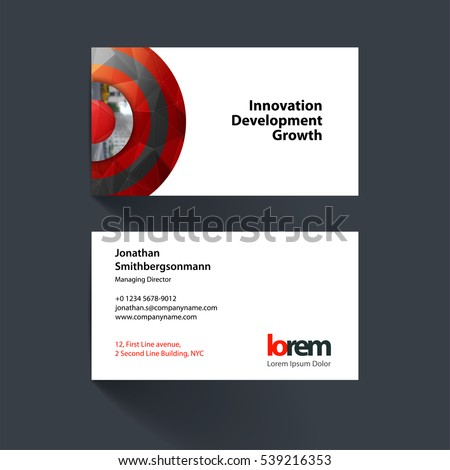 Vector business card template with red half target, rainbow, circles, rounds for IT, business, beauty. Simple and clean design. Creative corporate identity layout set.