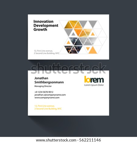 Vector Business Card Template With Yellow Diagonal Positive Arrows,  Triangles For Eco, Business,  Line Card Template