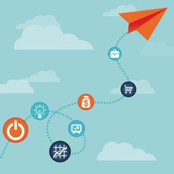 Vector business concept -flying  paper plane  and finance icons