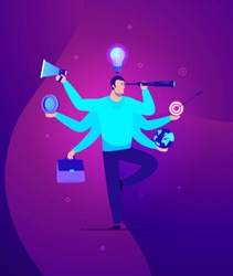 Vector business concept illustration Businessman with multitasking and multi skill