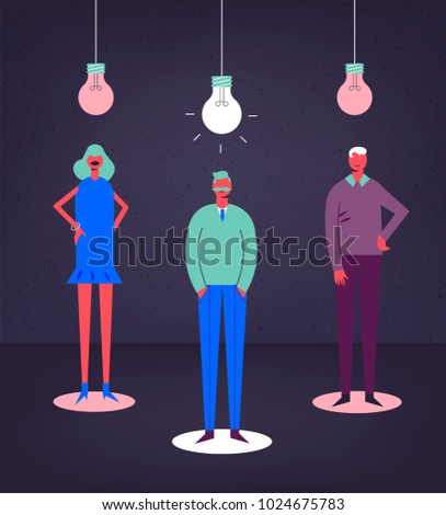 Vector business concept illustration. Stylized characters. Creative group, teamwork. Shining bulb, men and woman
