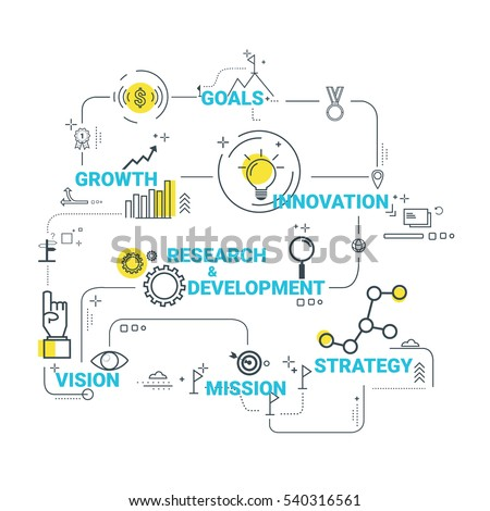 Vector business concept illustration with lines and flat icons. Success planning strategy idea, Inspiration concept, Business plan, Management.