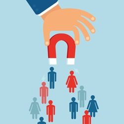 Vector business concept in flat style - attracting customers and clients to business - businessman's hand holding magnet
