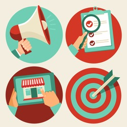 Vector business concepts in flat trendy style - advertising and promotion, online shopping and target marketing