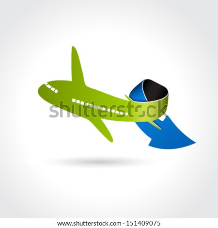 Vector business delivery symbol, transport icon, airplane with arrow