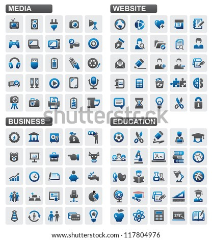 Vector business education website media icons set