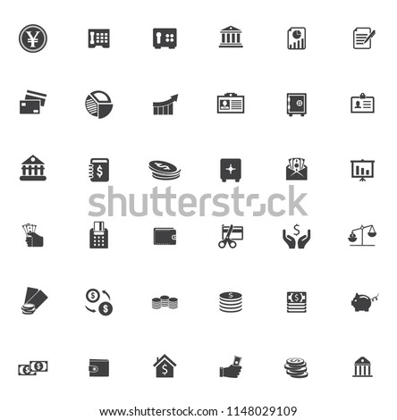 vector business financial Icons set, money symbols - banking office illustrations, investment icons