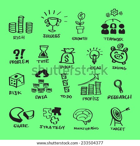 Vector Business Flat Icons Set Free Hand Scribbing & Doodling Style