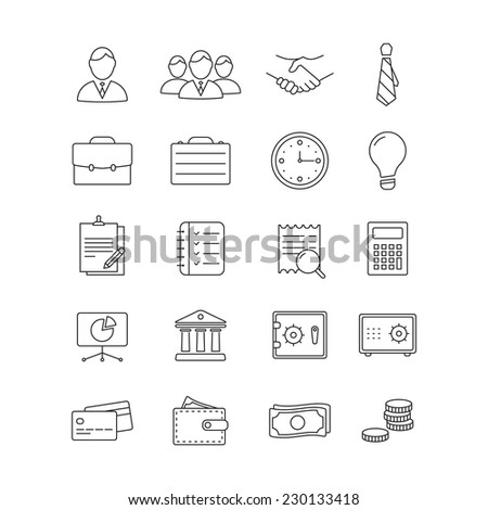 Vector Business flat minimalistic line icon set