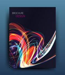vector business flyer template or corporate banner design with neon wave on a dark background