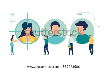 Vector business graph, employee choice, business company is looking for an employee for work, flat color icons. creative illustrations, businessmen are considering a resume.