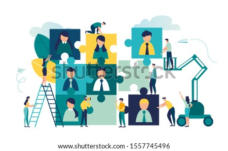 Vector business graph, open vacancy, a business company is looking for an employee to work in the form of puzzles, flat color icons, creative illustrations, businessmen are considering a resume vector