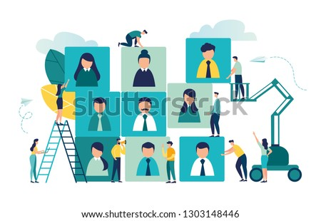 Vector business graph, open vacancy, business company is looking for an employee for a job, flat color icons, creative illustrations, businessmen are considering a resume - Vector