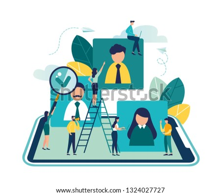 Vector business graph, open vacancy, business company is looking for an employee for a job, flat color icons, creative illustrations, businessmen are considering a resume - Vector - Vector