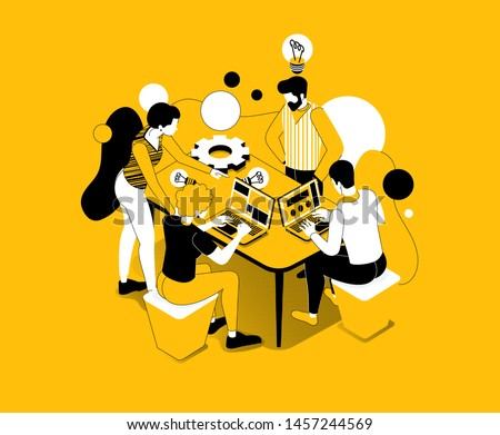 vector business illustration. A creative team of people working on a project, a team analytic brainstorming method. Teamwork at the idea. 3d vector stylish graphics 3 colors yellow black white