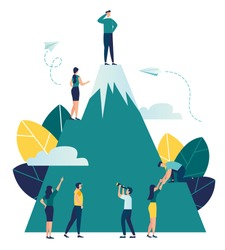 Vector business illustration, employees are looking for a way to their goal, climb a mountain that would take the top, look into the future perspective vector