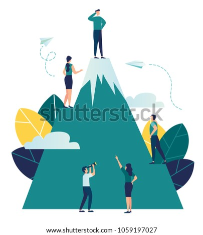 Vector business illustration, employees are looking for a way to their goal, climb a mountain that would take the top, look into the future perspective