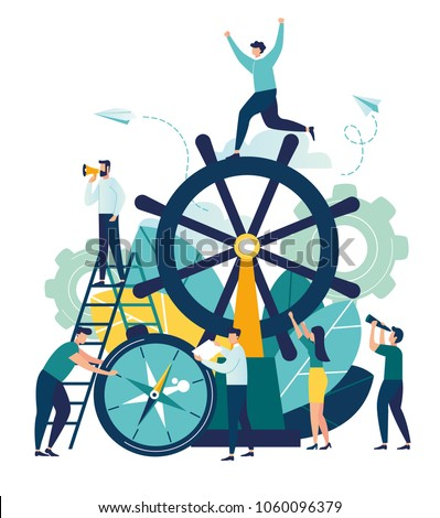 Vector business illustration, leadership qualities in a creative team, direction on a successful path, teamwork on startup