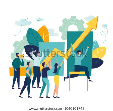 Vector business illustration, leadership qualities in a creative team, direction to a successful path, overcoming obstacles on the way to success, high level of work, the team rejoices the winner