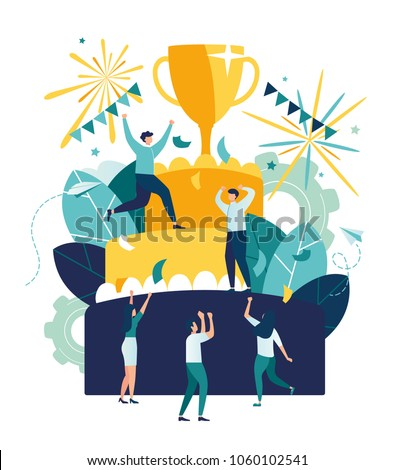 Vector business illustration, leadership qualities in a creative team, direction to a successful path, little people standing on a large cake are happy for the winner, a successful career path, a corp