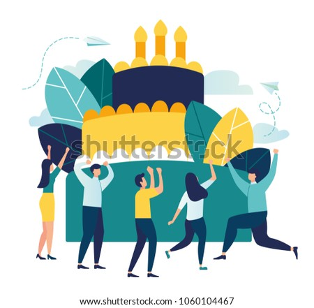 Vector business illustration, little people celebrate corporate at work standing near a big cake, organize solemn events, catering agency, marketing agency.