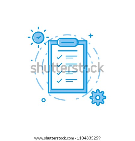 Vector business illustration of blue colors folder page, clock and engineering. Graphic design concept of product managment. Use in Web Project and app. Outline object