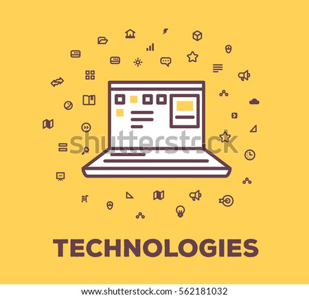 Vector business illustration of laptop, digital technology on yellow background with icon cloud. Innovation creative linear concept. Flat line art style design for web, site, banner, poster, board